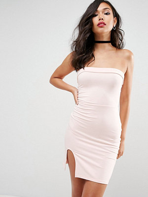ASOS Strapless Mini Bodycon Dress with Curved Splits - Nude