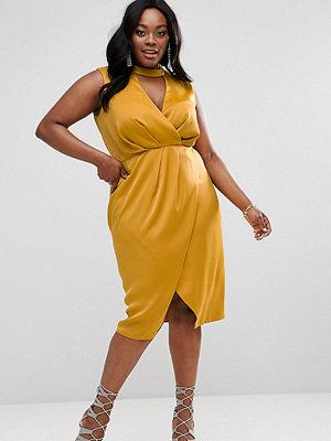 ASOS Curve Choker Neck Detail Drape Front Midi Dress - Mustard