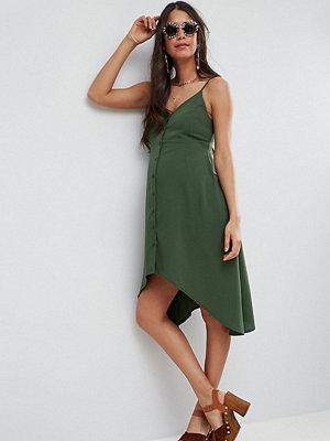 ASOS Maternity Button ThroughSun Dress with Dipped Hem - Khaki