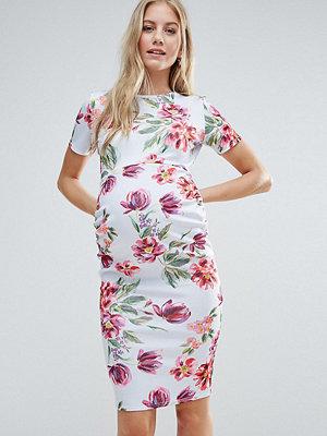 ASOS Maternity Crew Neck Bodycon Dress in Floral Print - Grey base