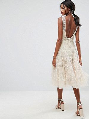 ASOS Edition ASOS SALON Embellished Floral Drop Waist Midi Dress - Cream