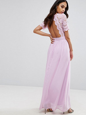 Club L Maxi Dress With Crochet Lace Detail & Cut Out Back - Lilac