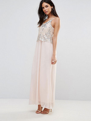 Club L Maxi Dress With Sequin Overlay - Light pink / silver