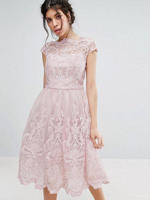 Chi Chi London Premium Lace Midi Prom Dress with Bardot Neck - Mink