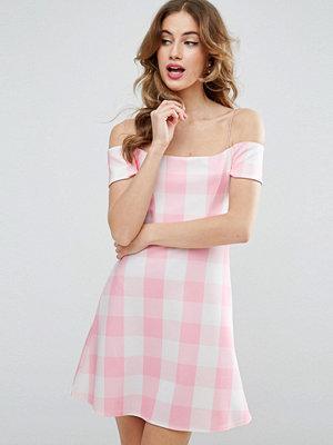 ASOS Gingham Off The Shoulder Bardot Shift Mini Dress - Pink