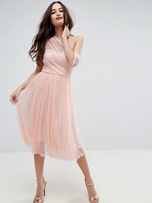 ASOS Dobby Mesh One Shoulder Midi Prom Dress - Nude