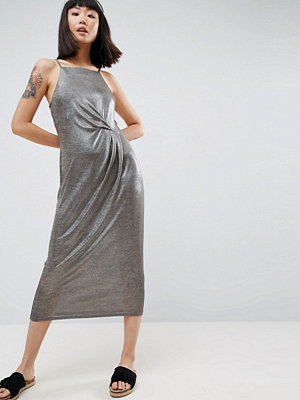 Warehouse Tuck Detail Metallic Midi Dress