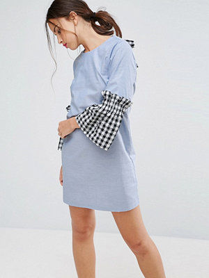 ASOS Shift Dress in Chambray with Gingham Sleeve - Multi