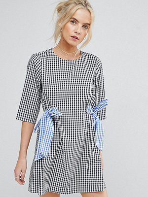 ASOS Petite Gingham Shift Dress with Bow Details