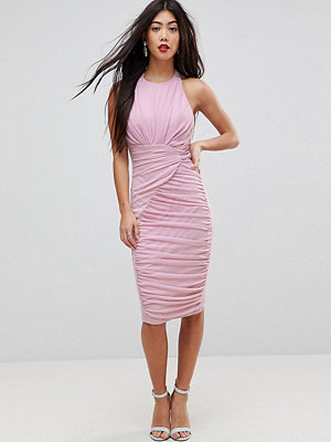 ASOS Petite Mesh Ruched Curved Seam Detail Dress - Lilac