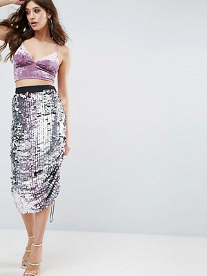 ASOS Pencil Skirt with Ombre Embellishment and Channel Detail - Silver