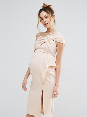 ASOS Maternity Bow Front Midi Pencil Dress with Mesh Detail - Nude