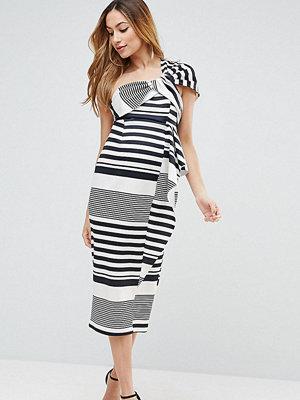 ASOS Maternity One Shoulder Scuba Ruffle Stripe Midi Dress - Black/ white