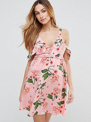 ASOS Maternity Pretty Floral Cold Shoulder Mini Smock Dress - Pink base