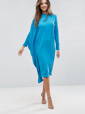 ASOS Oversized Midi Dress With Asymmetric Batwing Sleeve - Turquoise