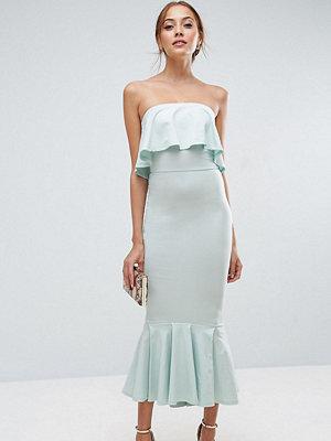 Asos Tall Bandeau Pephem Ruffle Top Midi Dress