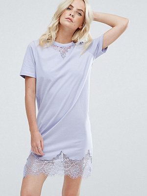 ASOS Petite T-Shirt Dress with Lace Inserts - Washed lilac