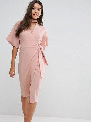 ASOS Wrap Midi Dress with Choker Detail
