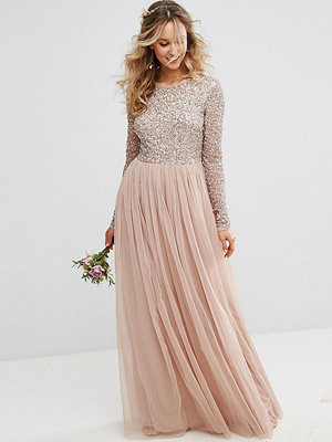 Maya Long Sleeved Maxi Dress with Delicate Sequin and Tulle Skirt - Taupe blush