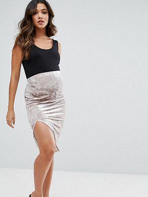 ASOS Maternity Over The Bump Velvet Midi Skirt with Thigh Split - Stone
