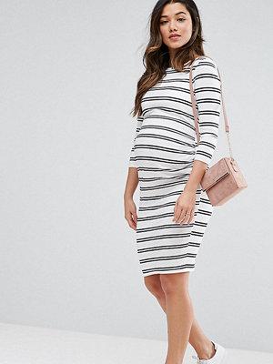 ASOS Maternity Twin Stripe Bodycon Dress - Black/ white