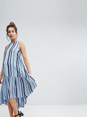 ASOS Maternity Stripe Trapeze Midi Smock Dress in Dobby - Multi