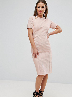 ASOS Petite Textured Structured Dress with Cut Outs