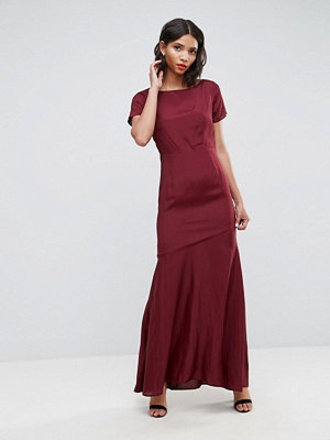 ASOS Cut Out Back Maxi Dress with Seam Detail - Red