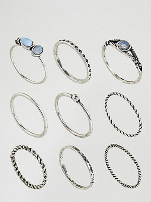 ASOS Curve Pack of 9 Moon Stone Twist Rings