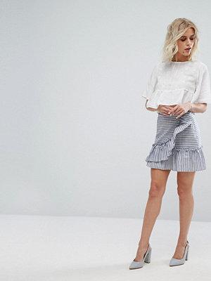 Miss Selfridge Stripe Ruffle Front Mini Skirt