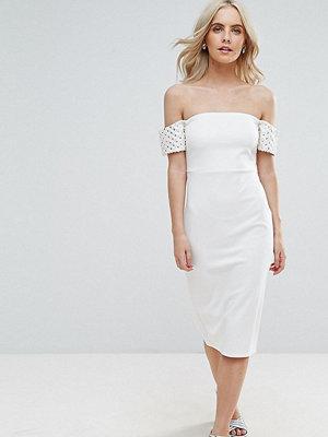 ASOS Petite Embellished Cuff Midi Bodycon Dress