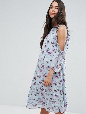ASOS Maternity Floral Ruffle Cold Shoulder Dress