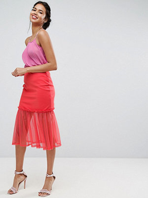 ASOS Tulle Midi Skirt with Ruffle Detail - Coral