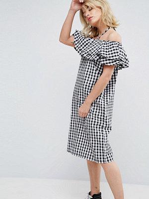 Chorus Gingham Halterneck Off Shoulder Ruffle Dress