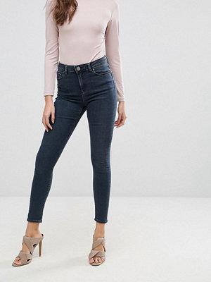 ASOS RIDLEY High Waist Skinny Jeans in Franke Darkwash Blue