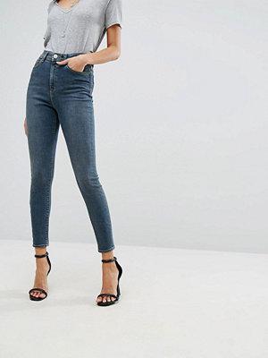 ASOS RIDLEY High Waist Skinny Jeans in Nanette Darkwash Blue
