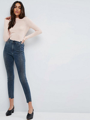 ASOS RIDLEY High Waist Skinny Jeans With Seamed Split Front in Valentine Dark Mottled Wash
