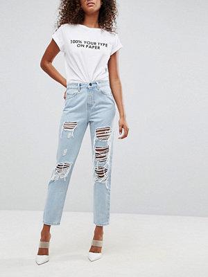 Jeans - ASOS ORIGINAL Mammajeans i ljus sliten tvätt med revor och slitna partier Dex aged wash