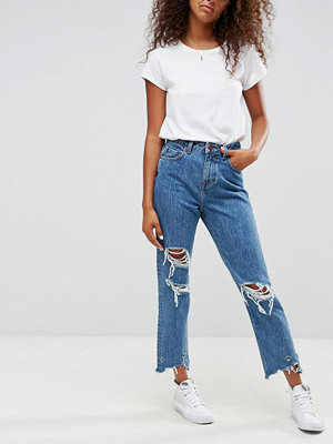 ASOS ORIGINAL MOM Jeans in Olivia Mottled Wash with Rips and Busts and Extreme Chewed Hem