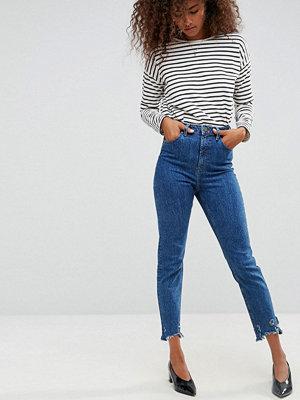 ASOS FARLEIGH High Waist Slim Mom Jeans in Hazel Soft Acid Wash with Arched Raw Hem
