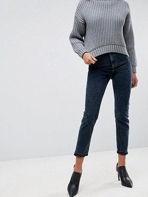 ASOS FARLEIGH High Waist Slim Mom Jeans in Valentine Mottled Blue/Black Wash