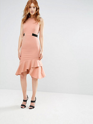 City Goddess Peplum Hem Pencil Dress With Contrast Waistline - Light pink