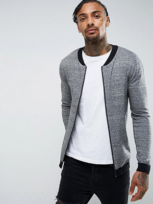 ASOS Knitted Bomber With Contrast Trims In Grey Twist