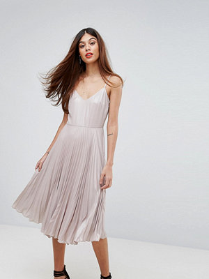 Warehouse Lame Pleated Cami Dress - Mink