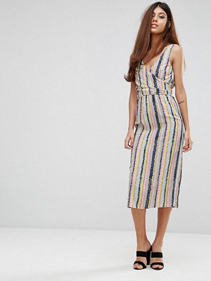 Warehouse Dash Stripe Wrap Dress
