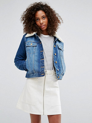 Brave Soul 'Faux Shearling Collar Denim Jacket