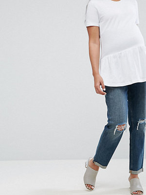 ASOS Maternity KIMMI Shrunken Boyfriend Jeans in Misty Wash with Busts and Rips With Over The Bump Waistband