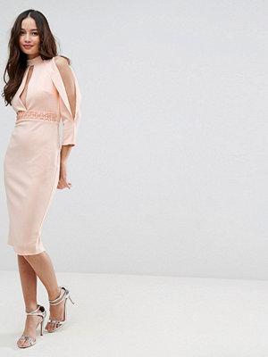 ASOS Scuba Trim Blouson Split Sleeve Midi Dress - Nude