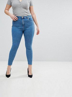 ASOS Curve Ridley Skinny jeans med hög midja i lätt tvått Liljeblå tvätt