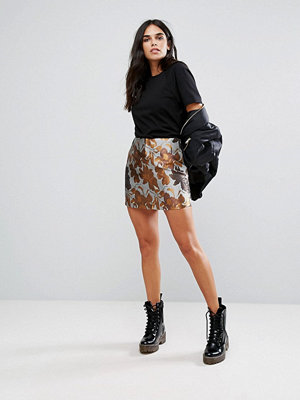 Brave Soul Mini Brocade Print Skirt